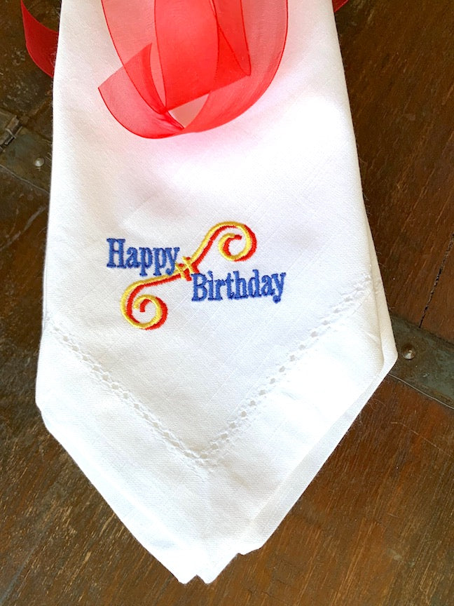 Happy Birthday Embroidered Cloth Napkins - Set of 4 napkins