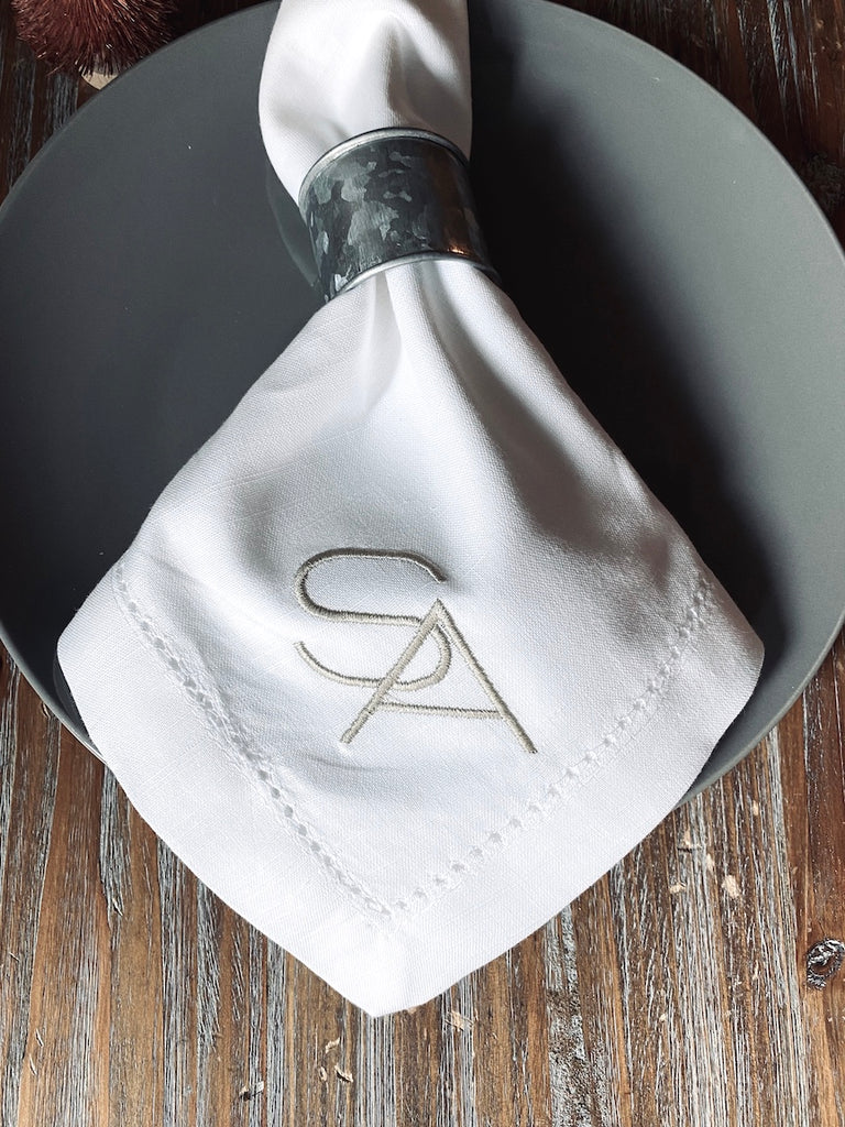 Deco Block 2 Letter Monogrammed Cloth Napkins - Set of 4 napkins