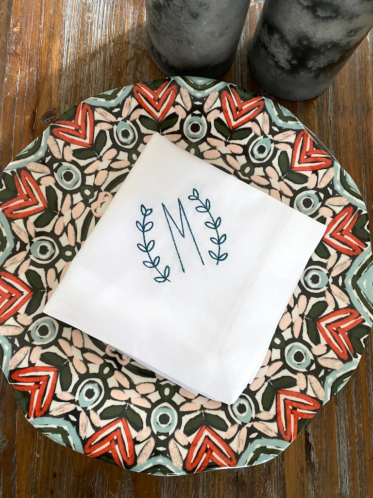 Meadow Laurel Wreath Monogrammed Cloth Napkins - Set of 4 napkins