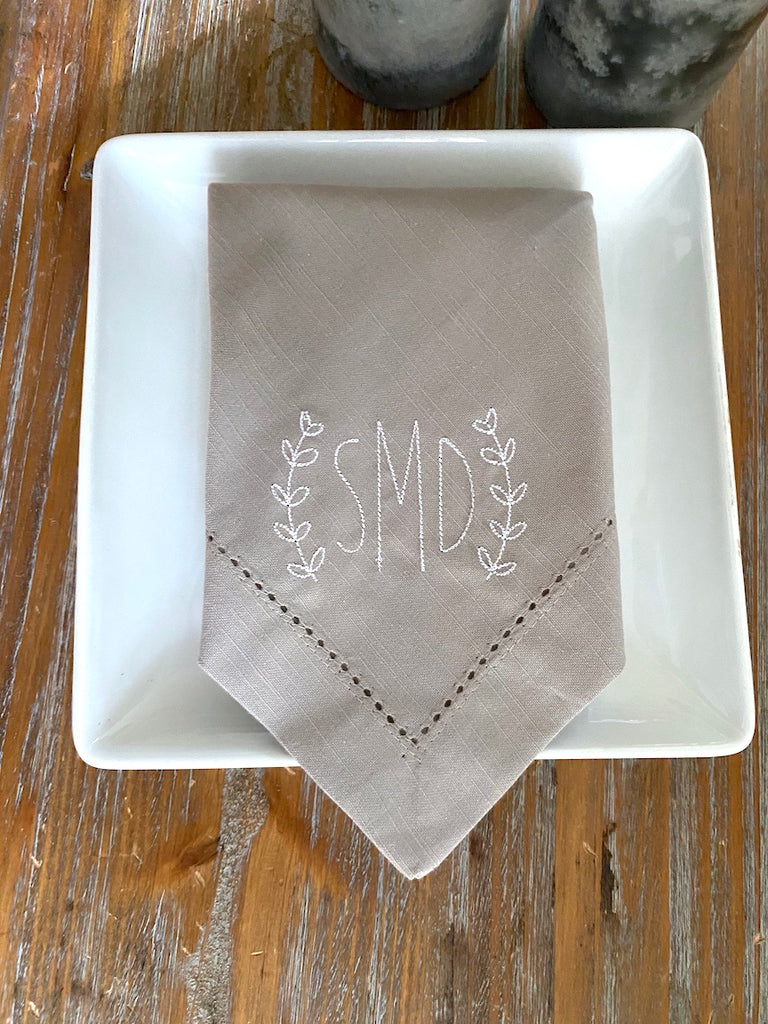 Meadow Laurel Wreath Monogrammed Embroidered Cloth Napkins - Set of 4 napkins, 3 letters