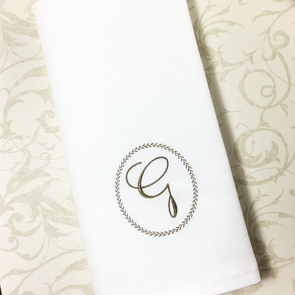 Ink Border Monogrammed Cloth Dinner Napkins - Set of 4 napkins-White Tulip Embroidery