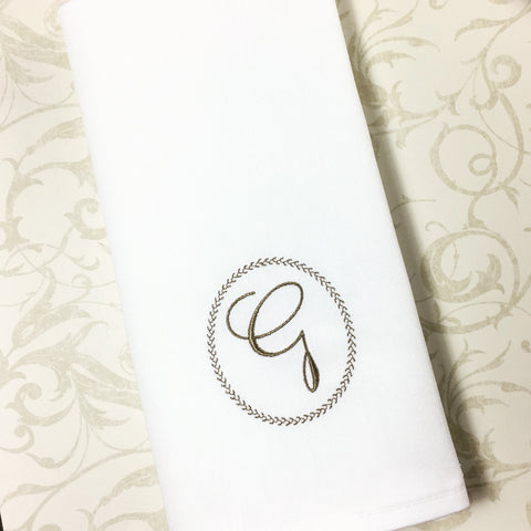 Ink Border Monogrammed Cloth Dinner Napkins - Set of 4 napkins - White Tulip Embroidery