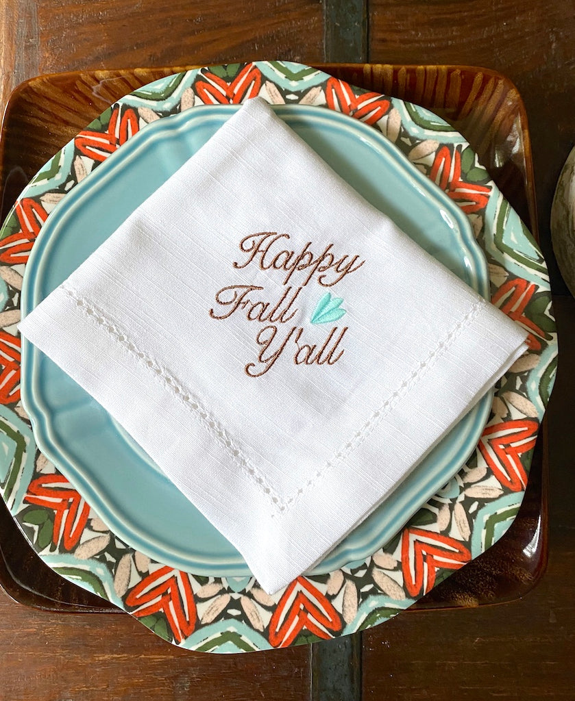 Happy Fall Y'all Embroidered Cloth Napkins - Set of 4 napkins
