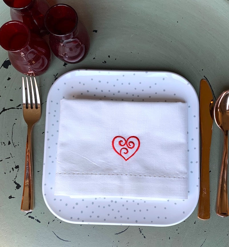 Swirl Heart Valentine's Day Cloth Napkins