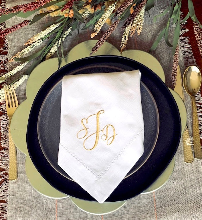 Alessia Three Monogram Monogrammed Cloth Dinner Napkins - Set of 4 napkins