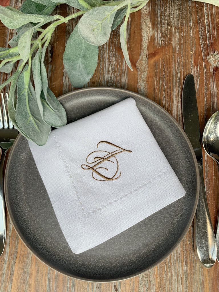 Lucia Monogrammed Cloth Dinner Napkins - Set of 4 napkins - White Tulip Embroidery
