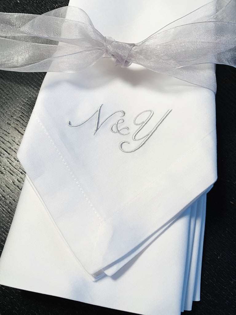 Ampersand Plus Sign Two Letter Monogrammed Cloth Napkins