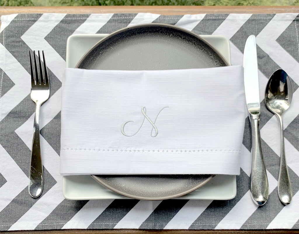 Alessia Monogrammed Cloth Dinner Napkins - Set of 4 napkins-White Tulip Embroidery