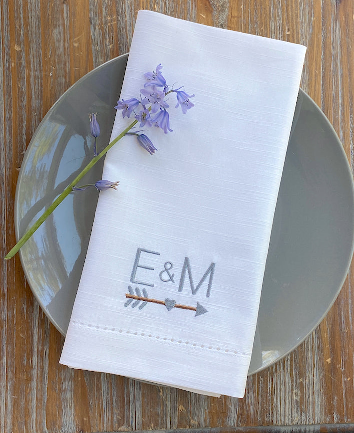 Arrow Monogrammed Napkins - Set of 4 napkins
