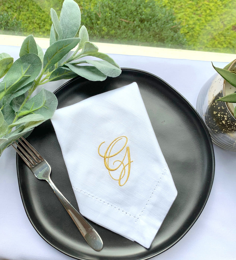 Lucia Monogrammed Cloth Dinner Napkins - Set of 4 napkins-White Tulip Embroidery