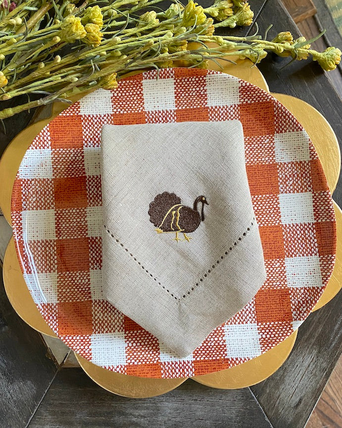 Traditional Thanksgiving Turkey Cloth Dinner Napkins - Set of 4 napkins
