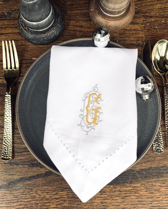 Iron Scroll Monogrammed Embroidered Cloth Napkins - Set of 4 napkins