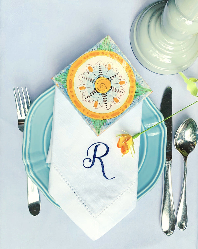 Alessia Monogrammed Cloth Dinner Napkins - Set of 4 napkins - White Tulip Embroidery