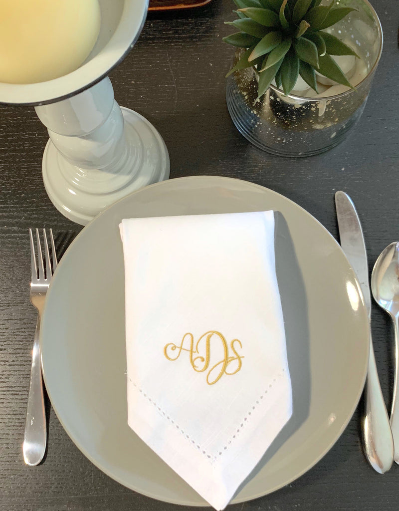 Alessia Three Monogram Monogrammed Cloth Dinner Napkins - Set of 4 napkins-White Tulip Embroidery