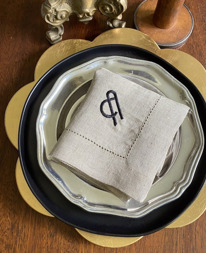 Art Nouveau Monogrammed Embroidered Cloth Napkins - Set of 4 napkins