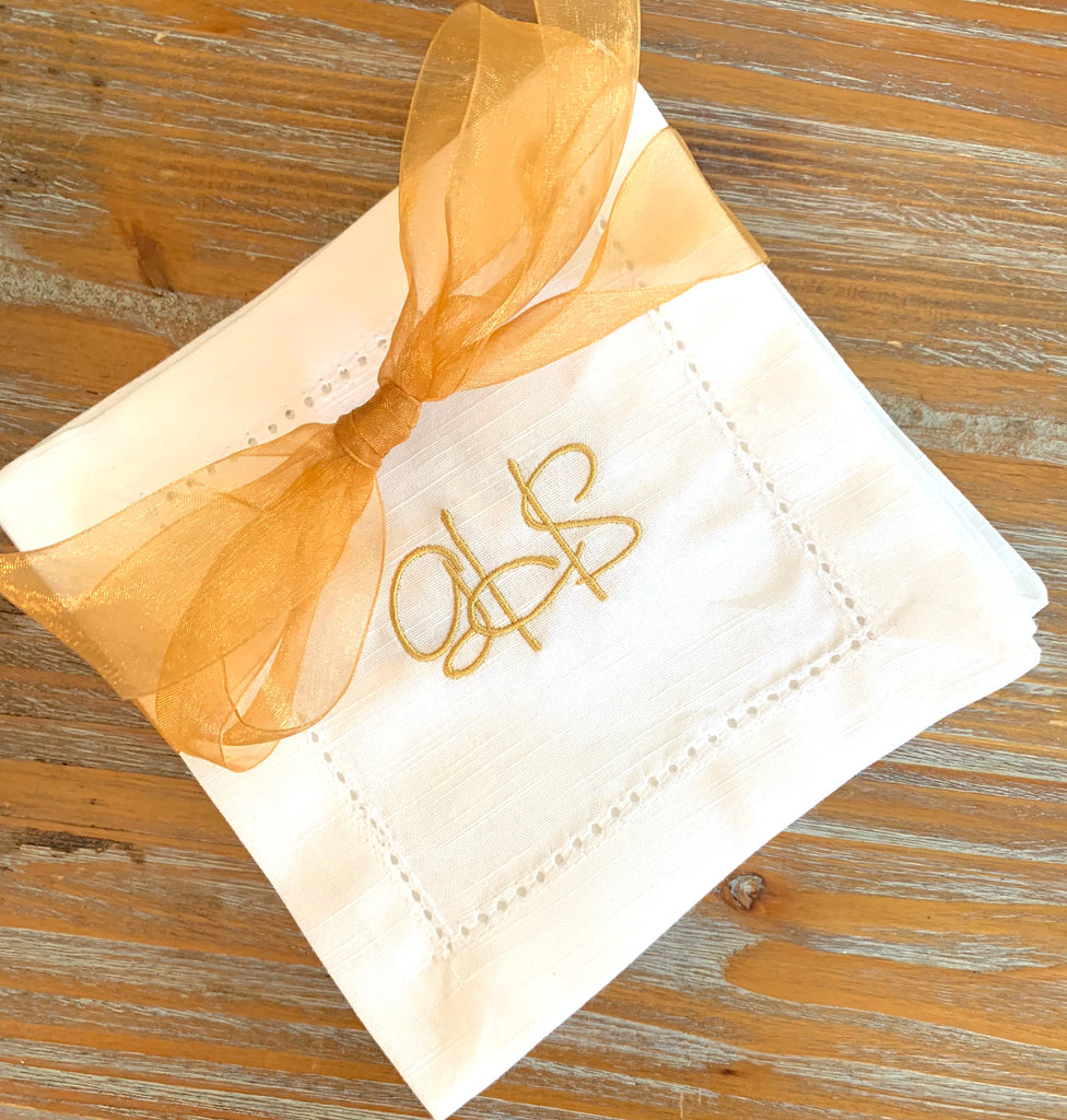 Monogrammed Cloth Cocktail Napkins - Wedding cocktail linens-White Tulip Embroidery
