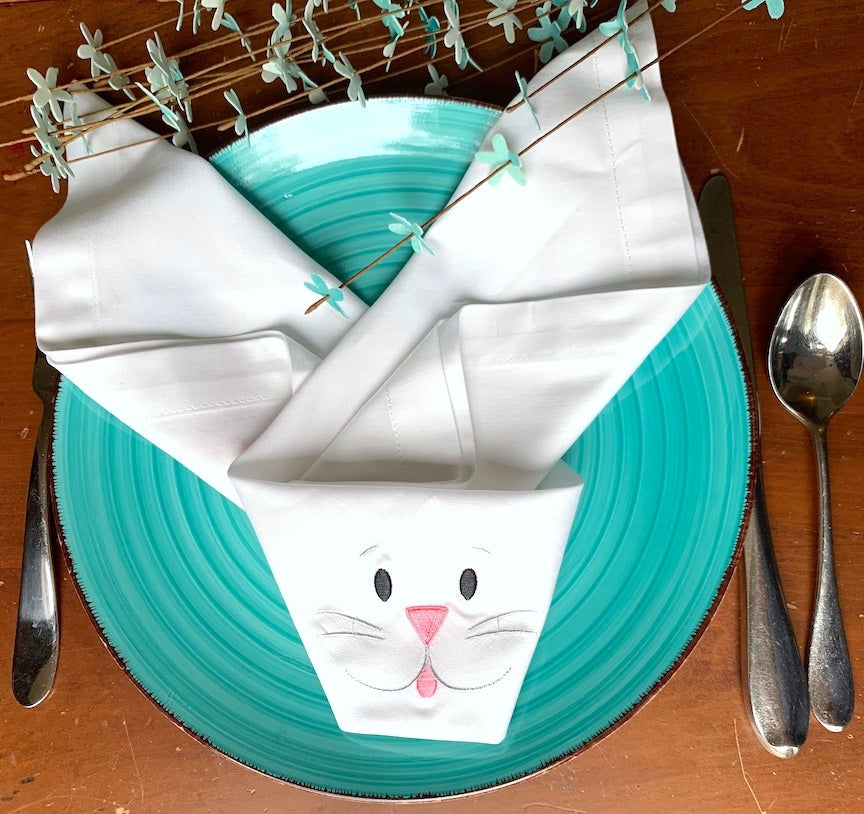 Folded Easter Bunny Cloth Napkins  - Set of 4 napkins