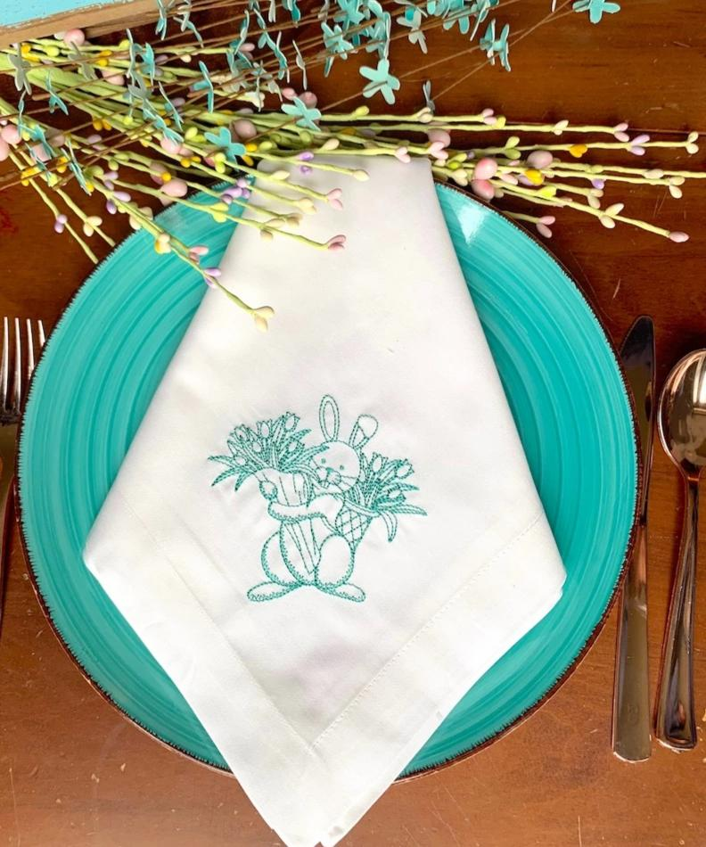 Easter Bunny with Flowers Embroidered Cloth Napkins - Set of 4 napkins