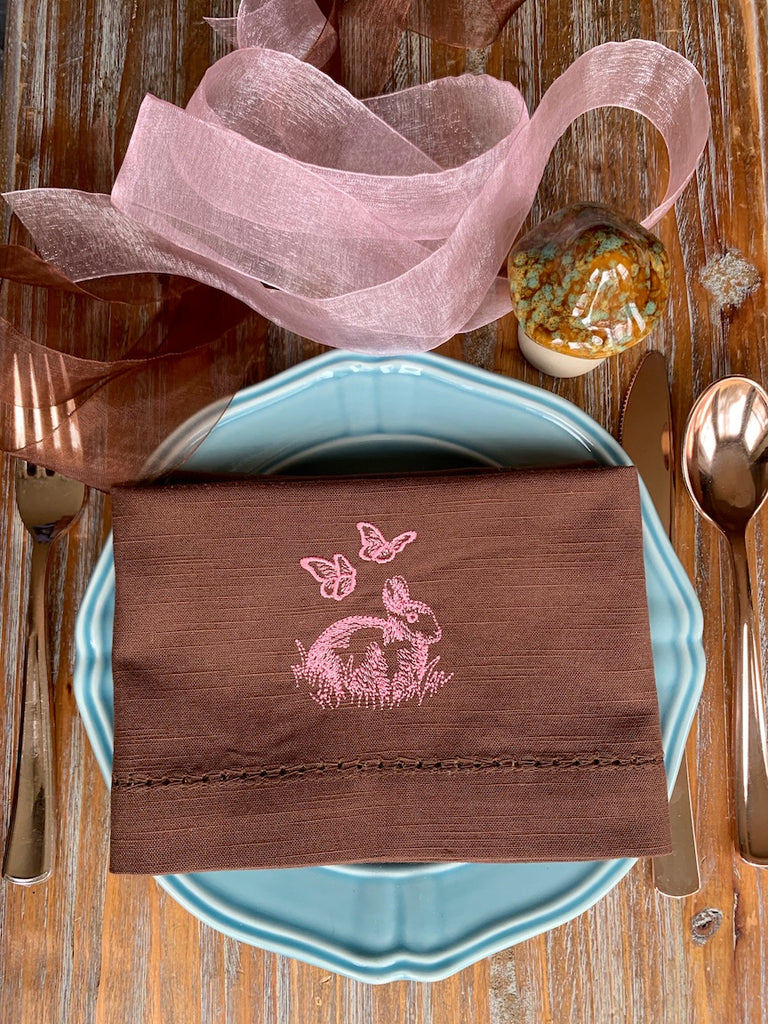 Easter Bunny and Butterflies Brown Cloth Napkins - Set of 4 brown napkins