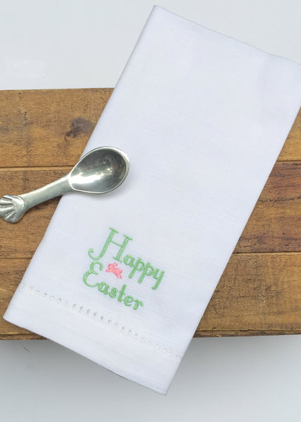 Happy Easter Bunny Script Embroidered Cloth Napkins - Set of 4 - White Tulip Embroidery