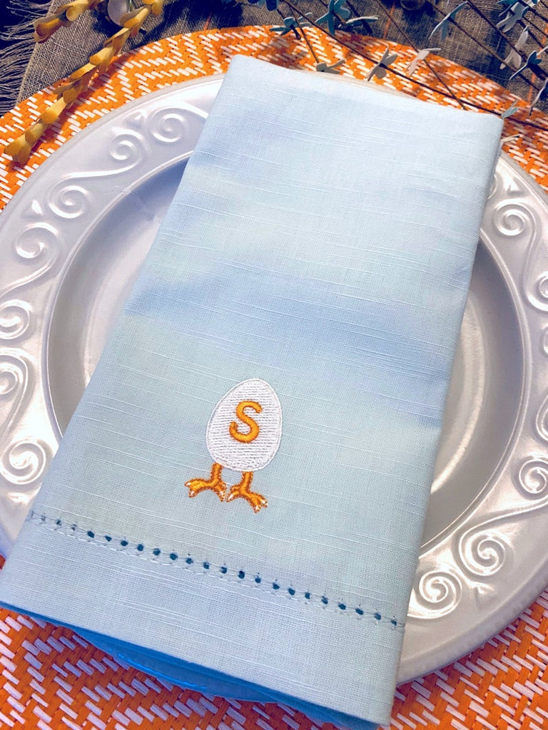 Easter Egg Monogrammed Embroidered Cloth Napkins