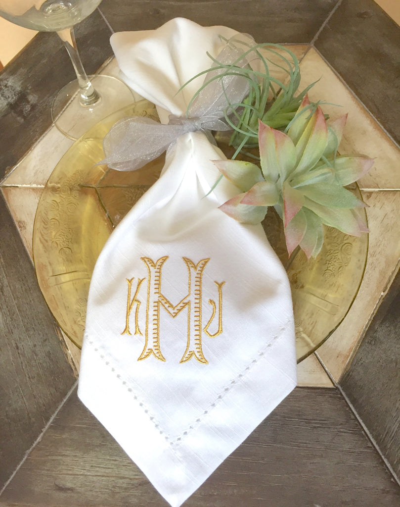 Baroque Embroidered Monogrammed Cloth Napkins - Set of 4 dinner napkins-White Tulip Embroidery