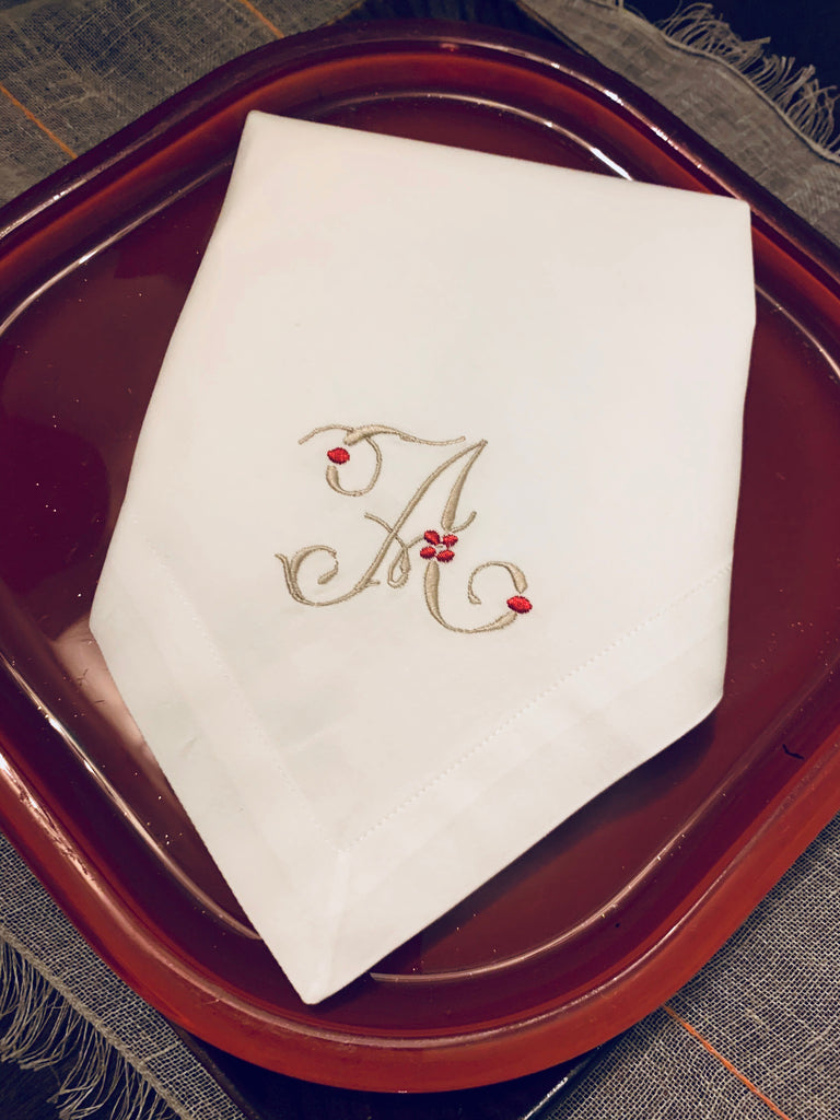 Floral Berry Monogrammed Embroidered Cloth Napkins - Set of 4 napkins