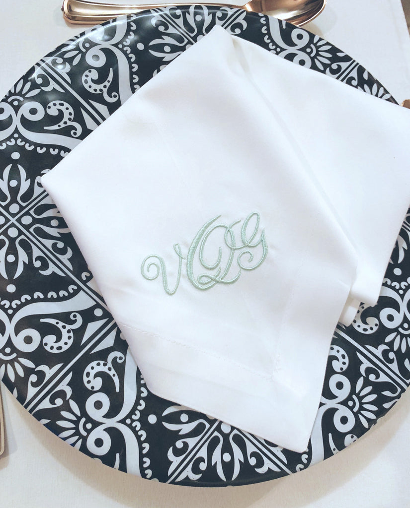 Lulu Monogrammed Embroidered Cloth Napkins
