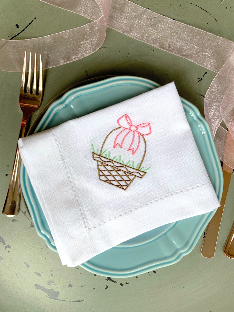 Easter Basket Embroidered Cloth Napkins - Set of 4 napkins