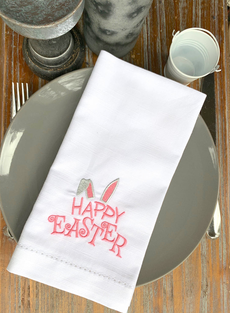 Happy Easter Bunny Ears Cloth Napkins - Set of 4 napkins