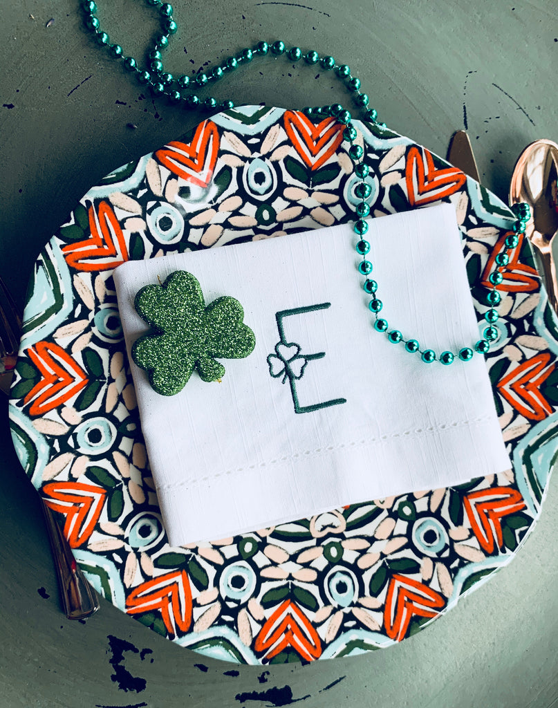 St. Patrick's Day Shamrock Clover Monogrammed Cloth Napkins - Set of 4 napkins