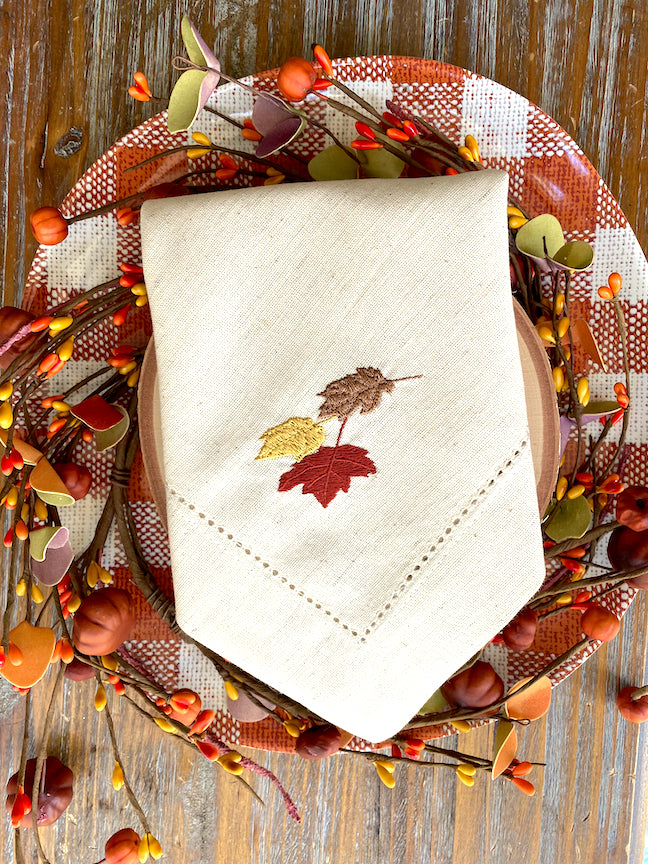 Thanksgiving Leaves Cloth Napkins - Set of 4 napkins