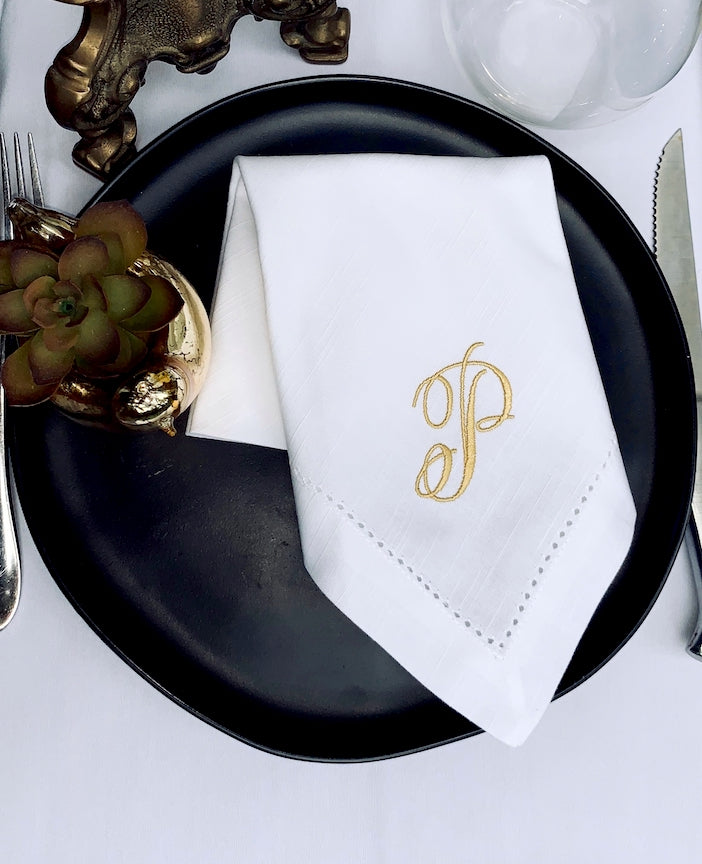 Rachael Monogrammed Embroidered Cloth Napkins - Set of 4 napkins-White Tulip Embroidery