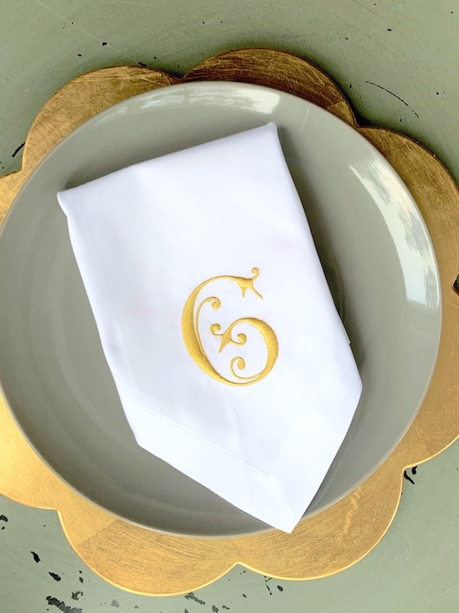 Mimi Monogrammed Cloth Dinner Napkins - Set of 4 napkins