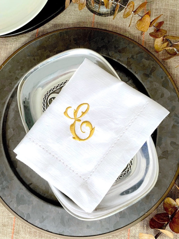 Cecilia Monogrammed Cloth Dinner Napkins - Set of 4 napkins