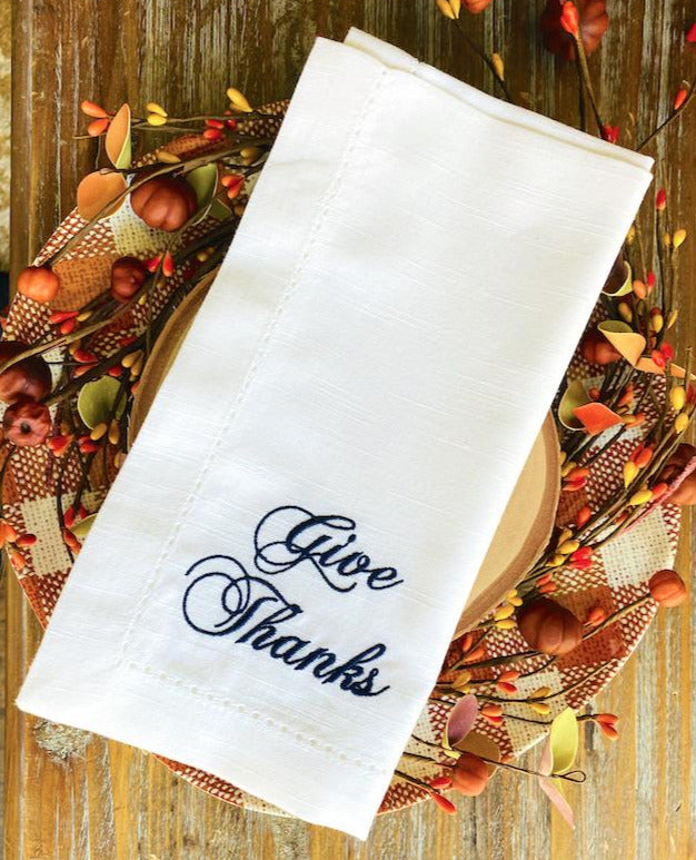 Give Thanks Thanksgiving Embroidered Cloth Dinner Napkins - Set of 4 napkins