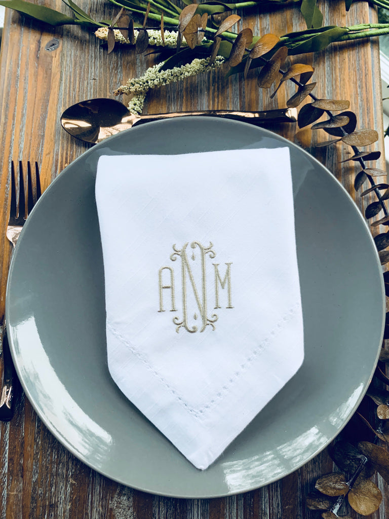 Venice Monogrammed Cloth Dinner Napkins - Set of 4 napkins