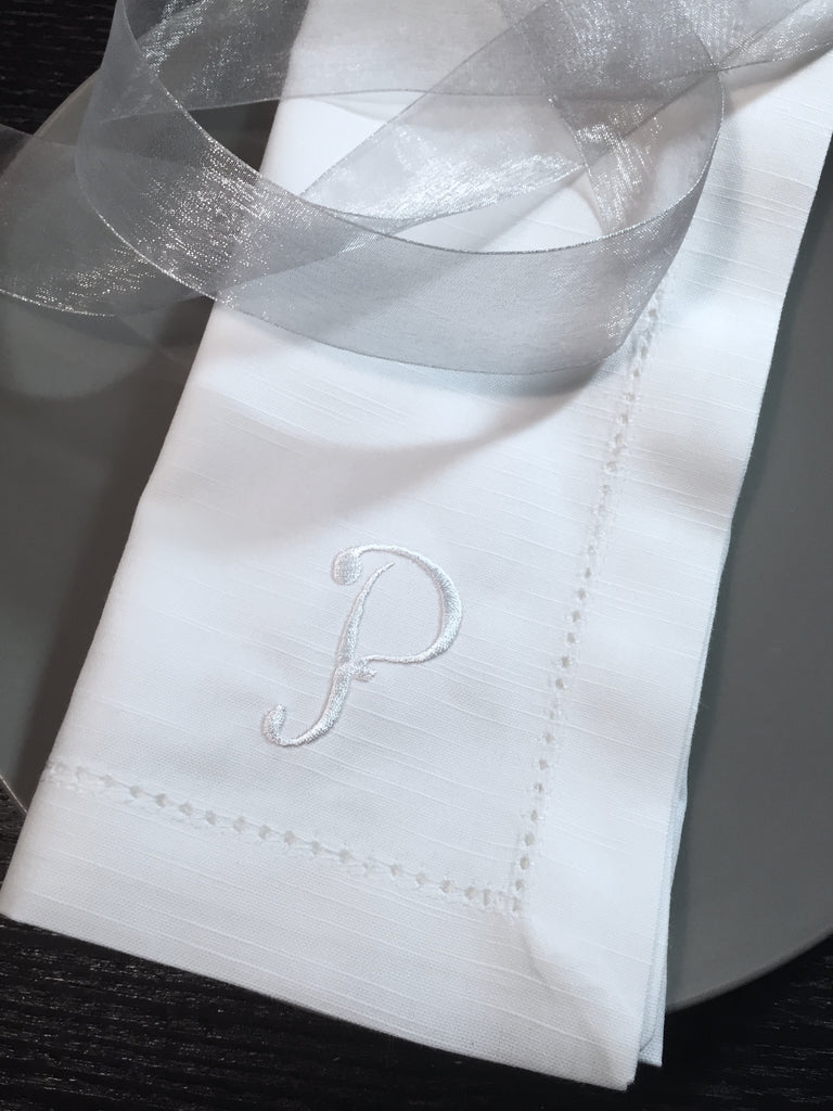 Monogrammed Embroidered Shannon Cloth Dinner Napkins - Set of 4 napkins - White Tulip Embroidery
