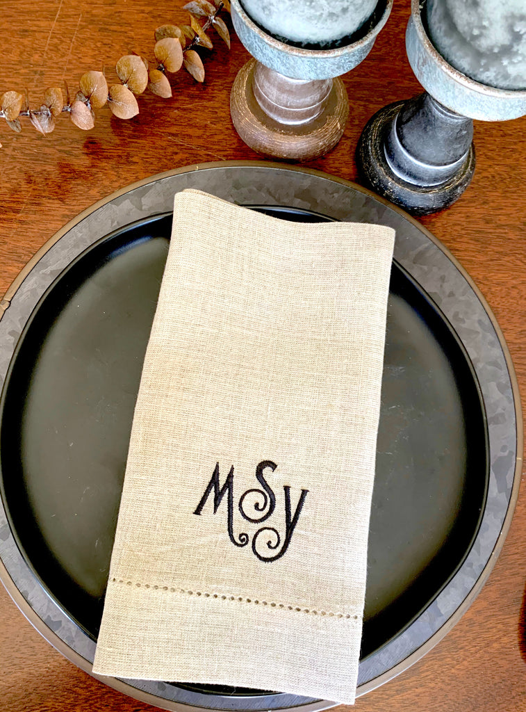 Isabel Monogrammed Cloth Napkins