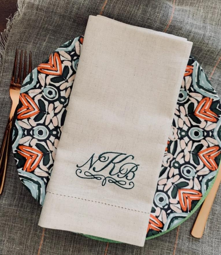 Amelia Monogrammed Embroidered Cloth Napkins