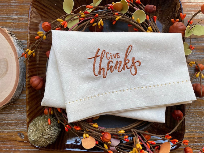 Thanksgiving Give Thanks Embroidered Cloth Dinner Napkins - Set of 4 napkins