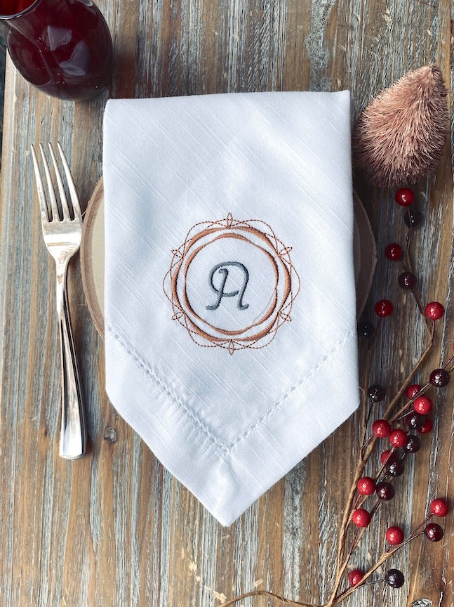 Wish Border Monogrammed Cloth Dinner Napkins - Set of 4 napkins