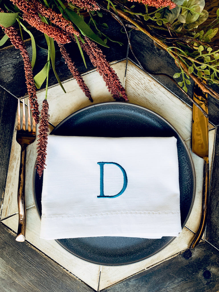 Simple and Modern Monogrammed Embroidered Cloth Napkins