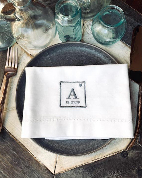 Periodic Table Monogrammed Cloth Napkins - Set of 4 napkins