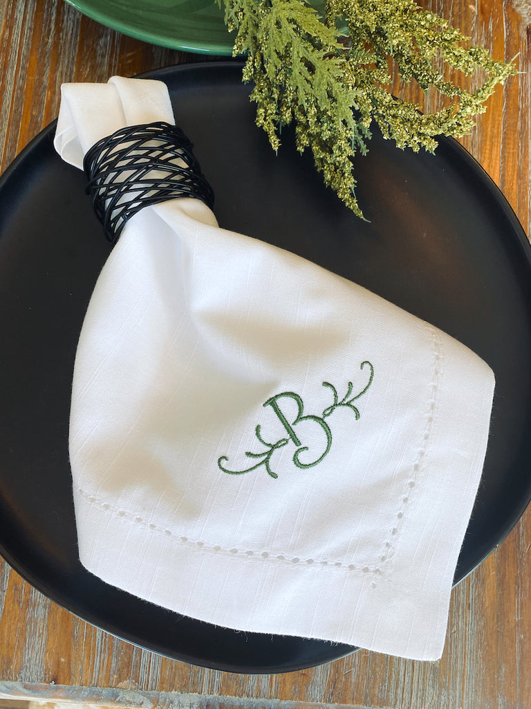 Flourish Monogrammed Embroidered Cloth Dinner Napkins - Set of 4 napkins