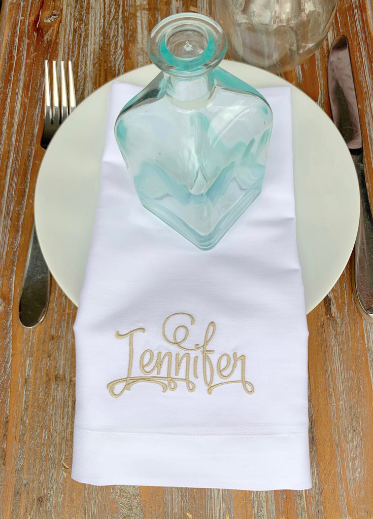 Place Cards Wedding Name Napkins, Set of 6 Names Cloth napkins, Lindsey