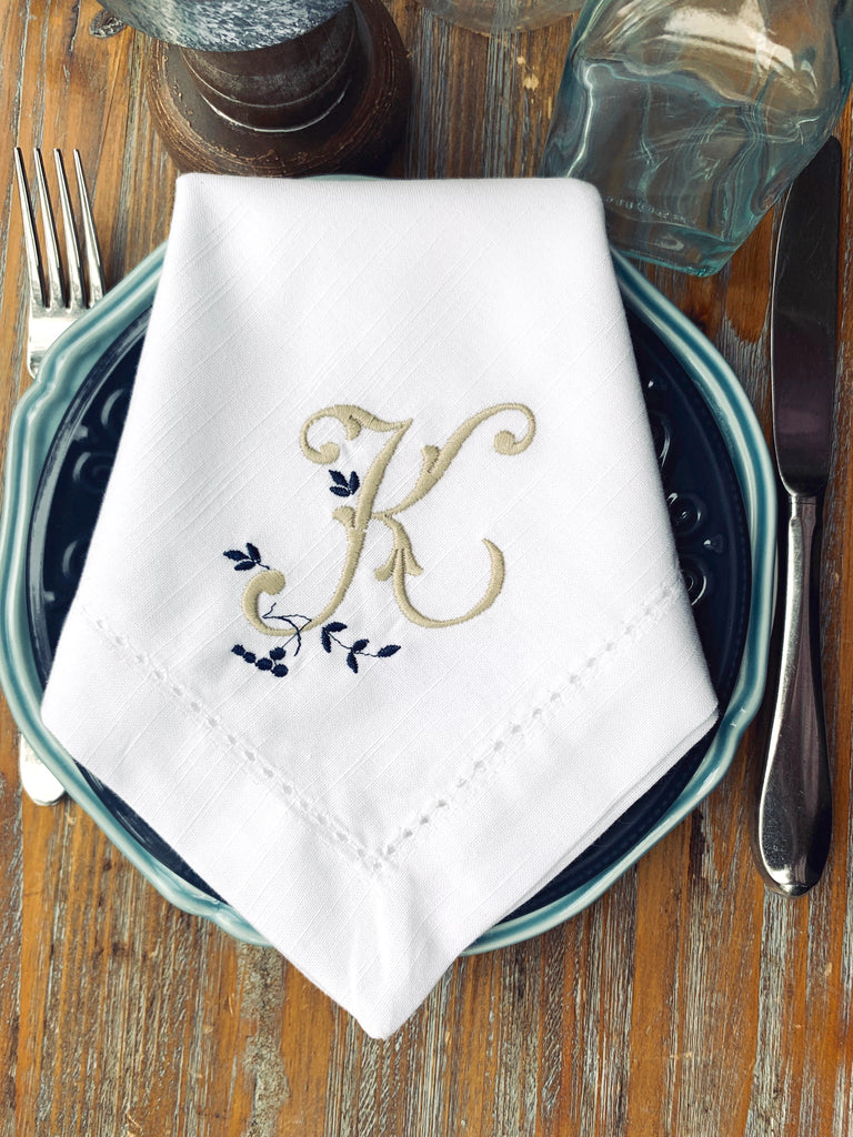 Sprig Monogrammed Embroidered Cloth Napkins - Set of 4 napkins