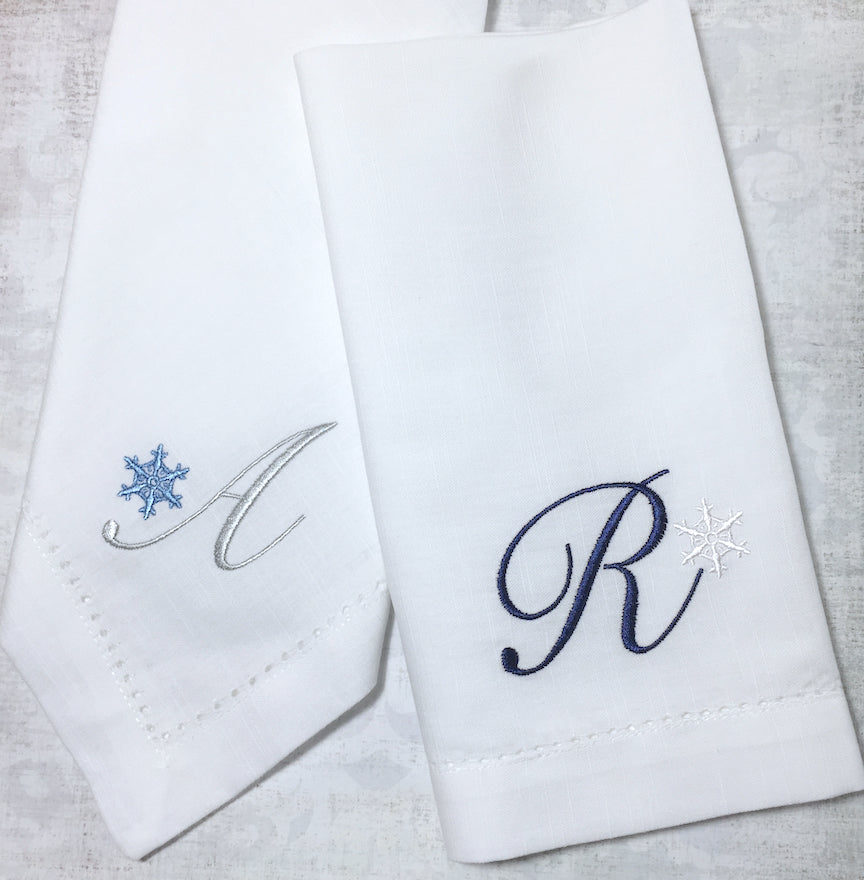 Monogrammed Christmas Snowflake Embroidered Cloth Napkins-Set of 4 napkins-White Tulip Embroidery