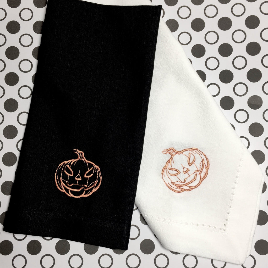 Scary Jack O' Lantern Pumpkin Halloween Cloth Napkins - White Tulip Embroidery