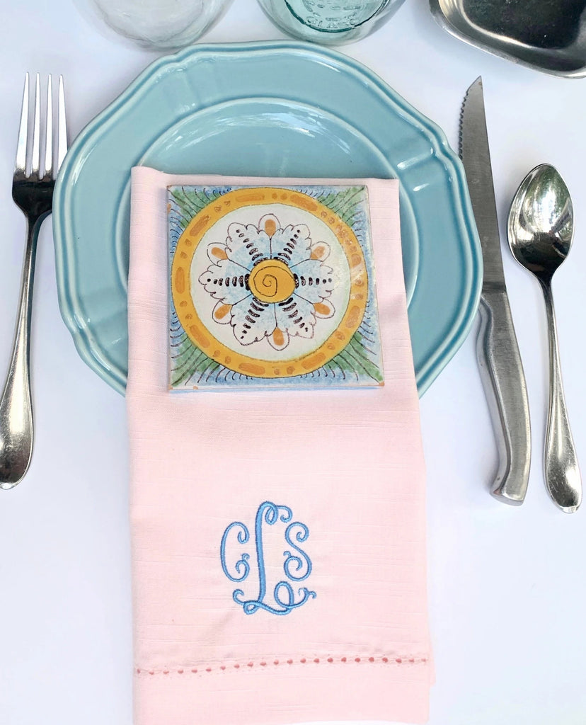 Monogrammed Pink Napkins - Set of 4 dinner navy blue napkins - White Tulip Embroidery